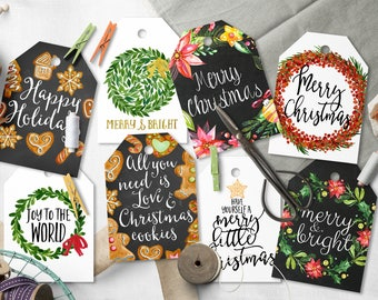 Printable Christmas gift tags, 2.5x3.5 Shipping tags, gift greeting carts, digital images, holiday tags, collage sheet Christmas present 7-6