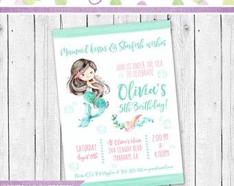Mermaid Invitation, Mermaid Birthday Invitation, Mermaid Party, Mermaid party Invitation, Mermaid Birthday party Printable invitation