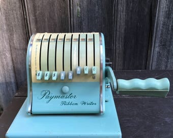 1950s Paymaster Series 8000 ribbon writer check writer in blue with key