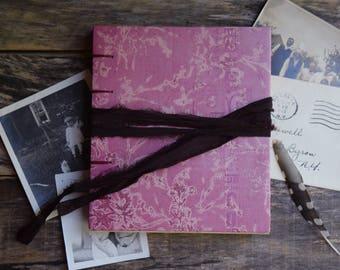 Pink Hand Bound Journal, Floral Journal, Wedding Guest Book, Coptic Stitch Journal Hand Bound Notebook Bohemian Journal