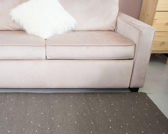 Handmade Rug - Woven rug - Wool carpet - Grey rug - Polka dots rug - Living room wool rug - Floor rug - Small area rug - Livingroom decor