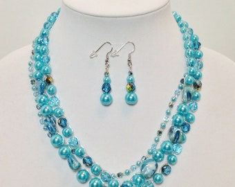 Turquoise Glass Pearls, Mother of Pearl Shell Nuggets,  Aqua Czech Glass, Non-Tarnish Silver Plated Wire, Wire Crochet, Necklace, Earrings