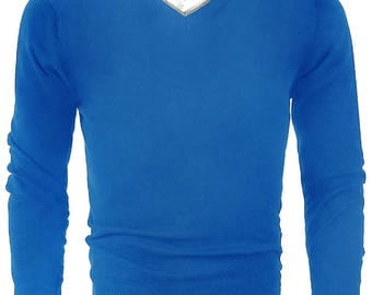 Winter Men's V Neck Long Sleeve Blue Sweater