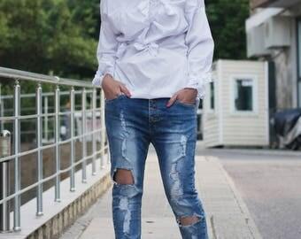 White Shirt / Cotton Shirt / Ragged  Shirt / White Blouse / Deconstructed Fashion Blouse / Long Sleeved Shirt / Extravagant Shirt / SH19717