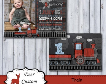 Train Birthday Photo Invitation | Train Chalkboard Photo Birthday Invite | Chalkboard Train Party | Choo Choo Birthday Party | Locomotive
