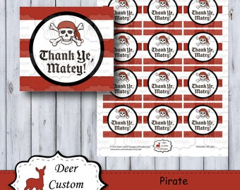 Pirate Favor Tags | Pirate Birthday Labels | Skull Favor Tags | Instant Download | DIY Printable | Pirate Birthday Party Favor Tags | Ahoy