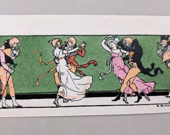 """Hand colored illustration, """"At the Ball"""" French, early 20th century"""
