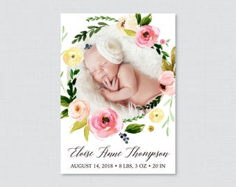Printable or Printed Floral Photo Birth Announcement Cards - Flower Wreath Birth Announcements,  Baby Girl Birth Announcements BA07