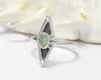 925 Sterling Silver Ethiopian Opal Gemstone Ring