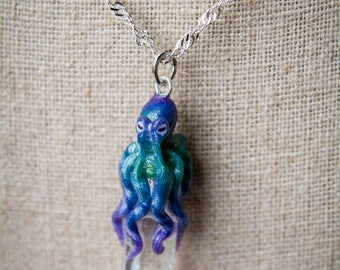 Color fade Octopus on infused crystal