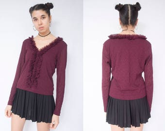 MAROON TOP -90s, long sleeve, ruffle, frilly, mesh, lace, rosewood, bordeaux, cute, grunge, clueless, see through-