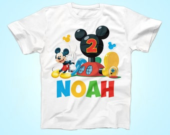 Mickey Mouse Birthday Tshirt, Mickey Mouse Clubhouse Birthday Shirt,  Mickey Mouse Birthday Boy Shirt, Personalized Party Tshirt