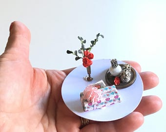 Miniature Mother's Day set, 1/12 scale, handmade
