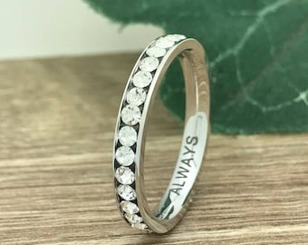 3mm Titanium Wedding Ring, Personalized Custom Engrave Eternity CZ Wedding Band Ring, Wedding Ring, Purity Ring, Promise Ring TRB162