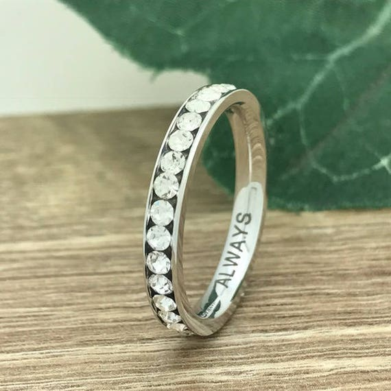 3mm Titanium Wedding Ring, Personalized Custom Engrave Eternity CZ Wedding Band Ring, Wedding Ring, Purity Ring, Promise Ring