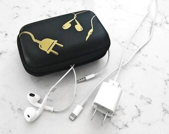 Black Headphone + Phone Charging Cords Travel Case: Gold Foil Cords Design