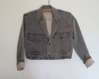 HOLLYWOOD made in Canada SMALL 1990 vintage CROPPED denim jacket / vintage small Hollywood jeans jacket