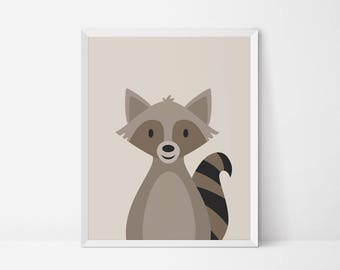 Raccoon printable, Nursery printable, Woodland Animal Wall art, nursery Decor, raccoon print, woodland nursery print, animal nursery art
