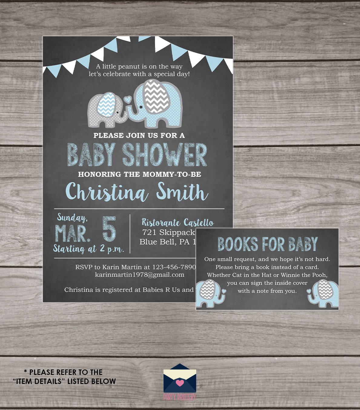 elephant baby shower invitation boy chalkboard baby shower