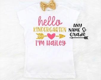 girls kindergarten shirt girls first day of kindergarten shirt first day of kindergarten shirt girls back to school shirt hello kindergarten
