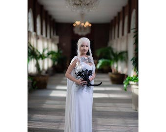Game of Thrones White Daenerys Dragon Dress With Cape - Cosplay Costume