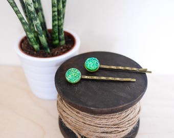 Sea Green Hair Grips; mermaid, beach, accessories, hair pin, holiday, vacation, emerald, pretty, gifts for her, july, august, antique, brass