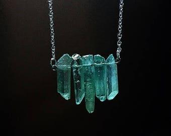 Green Quartz Necklace, Quartz Necklace, Healing Quartz, Mint Green Stone Necklace, birthday stone