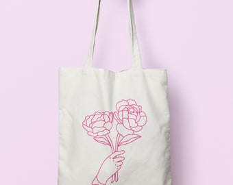 Peony Flower Canvas Tote, Gift for Her, Gift for Girlfriend, Book Bag for Student, Gift for Him, Market Tote