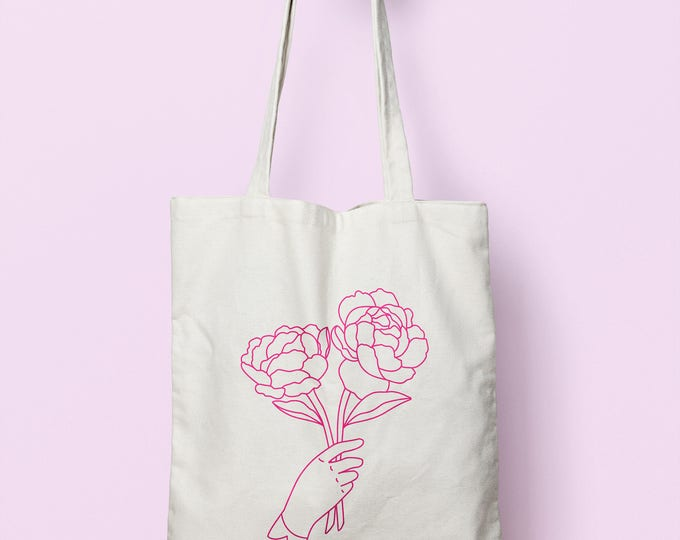 Featured listing image: Peony Flower Canvas Tote, Gift for Her, Gift for Girlfriend, Book Bag for Student, Gift for Him, Market Tote