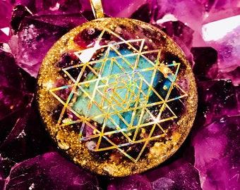 "Orgonite® Pendant ~ Orgone Elite Sri Yantra ~ 24k Gold Flake, Elite Shungite, Labradorite, Amethyst EMF Protection Jewelry 2"""