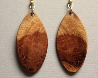 Afzelia Burl Exotic Wood Earrings drop dangle Handcrafted ExoticWoodJewelryAnd Reclaimed repurposed