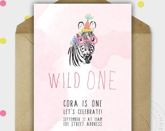 Birthday Party Invitation - WILD ONE - Jungle Party - Zebra - Girl Birthday - Safari Theme - Printable - Personalized - 5x7