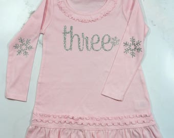 Snowflake Birthday Dress!  (Light Pink Dress/ Silver Glitter )