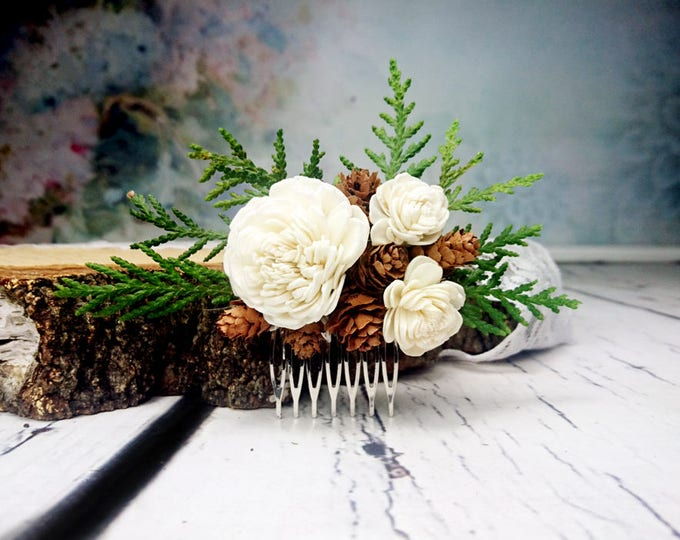 Woodland HAIR COMB with green thuja, cones and ivory sola flowers