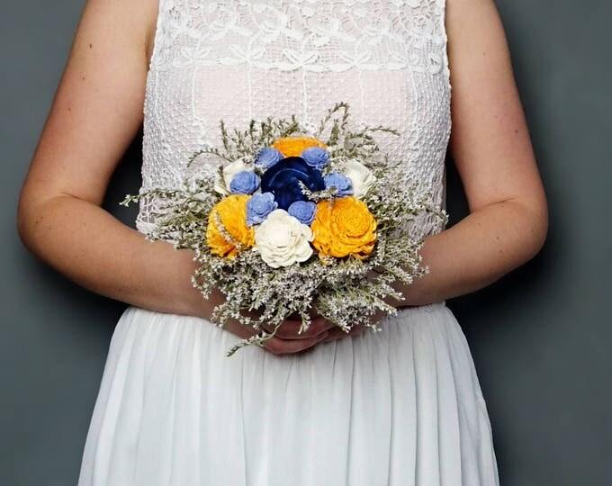 Sunny yellow navy blue and ivory sola flowers wedding BOUQUET dried limonium satin ribbon Flower girl Bridesmaids elegant custom toss