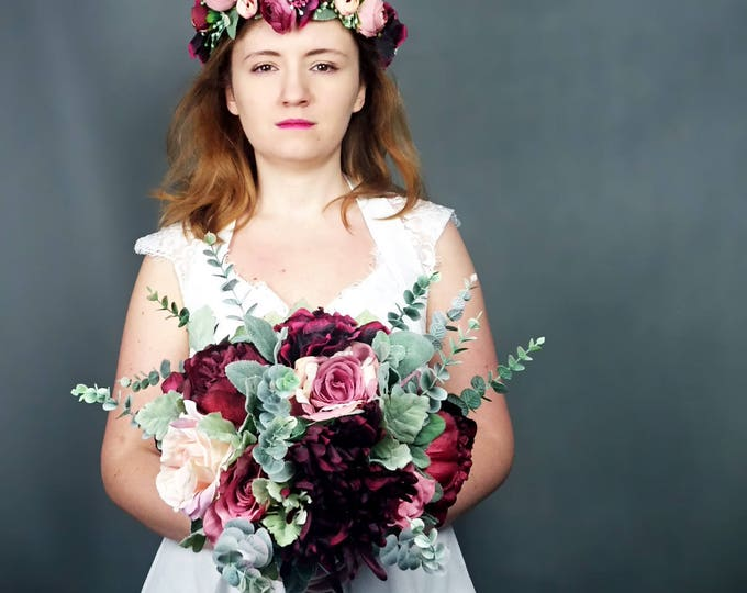 Vintage style bridal floral crown dusty blush pink burgundy rose realistic silk flower marsala wine dusty miller greenery wreath