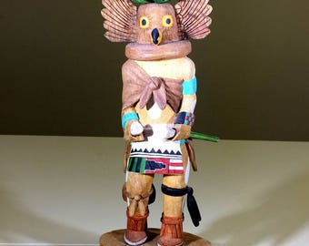 "Native American, Kachina, Titled ""Great Horned Owl"" By D Korrh, Ca 1991, #1237"