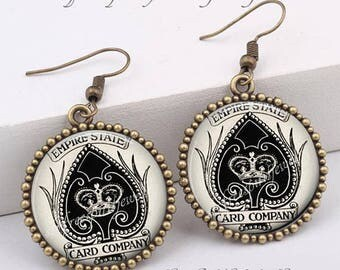 Ace Of Spades Earrings, Ace Necklace, Bridge Player Gift, Card Games Accessory, Cassino Jewelry, Antique Deck of cards, Lucky Earrings