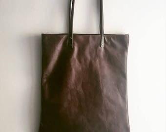 Leather Tote bag / brown leather tote bag / leather shopper / dark leather tote bag / distressed leather , used weathered leather bag