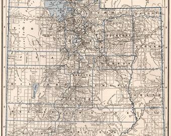 Antique Utah Map Etsy - Us map 1930