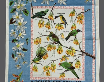 Vintage Around New Zealand Birds And Flowers Pure Linen Tea Towel Souvenir 21 x 31
