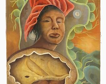 1982 L Sthubert Dreamscape Oil Painting Surreal Painting Canvas Vintage Art