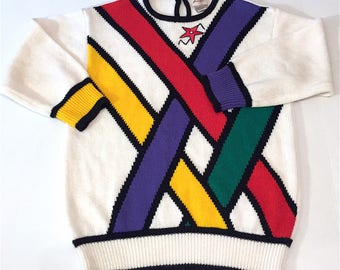 90s GEOMETRIC SWEATER sz S