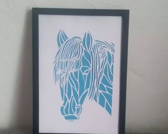 Horse made with paper cut technique