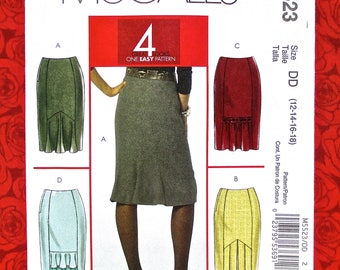 McCall's Easy Sewing Pattern M5523 Straight Skirts, Flounce Pleat Inset, Misses' & Petite Sizes 12 14 16 18, Basic Fashion Sportswear, UNCUT