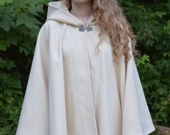 Full Circle Wool Cloak Hooded with Pewter Metal Clasp