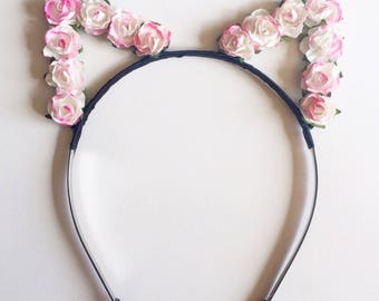 Pink White Cat Ears Flower Headband - Floral Mini Roses Cat Ears - Pink White Rose Headband - Festivals - Raves
