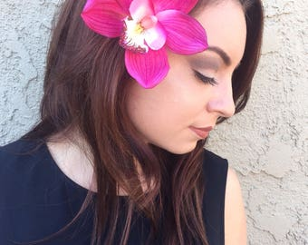 Orchid Flower Hair Clip - Pink Purple White Orchid - Tropical Flowers - Hair Accessories - Wedding - Bridal