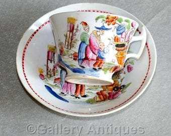 Antique 19th Century Georgian Hilditch & Sons Boy Picking Fruit Handpainted Chinoiserie London Shape Tea Cup and Saucer dating 1822 - 1830
