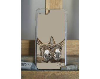 Two Donkeys Over Gate Phone Case Featuring A Pastel Painting By Irish Artist Grace Scott